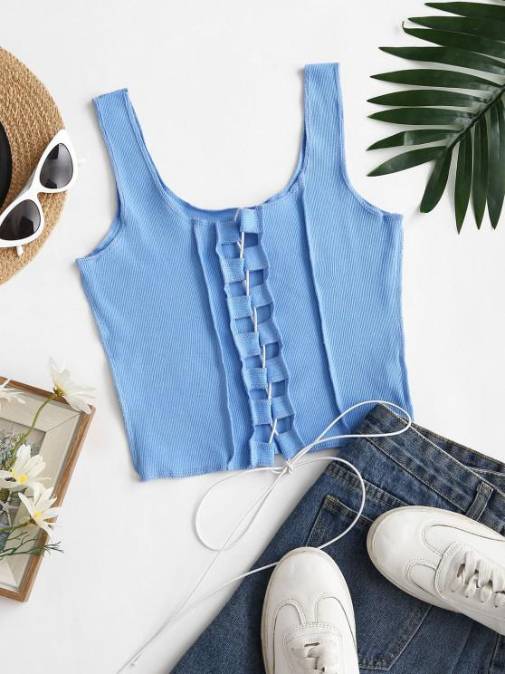 lady Ribbed Overlocking Lace-up Crop Tank Top - LIGHT BLUE S