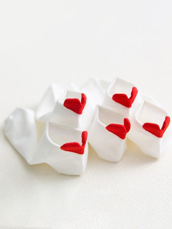 2 Pares de Calcetines Tobilleros de Algodón Estampados de Corazón - Blanco