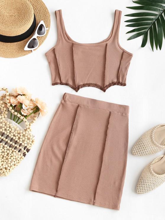 Overlock Seam Ribbed Corset Style Skirt Set - القهوة الخفيفة M