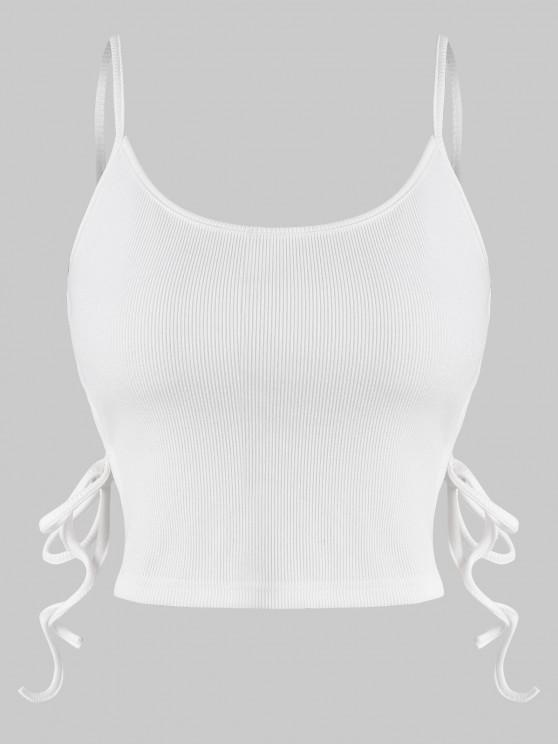 fancy Ribbed Side Self-tie Cropped Camisole - WHITE S