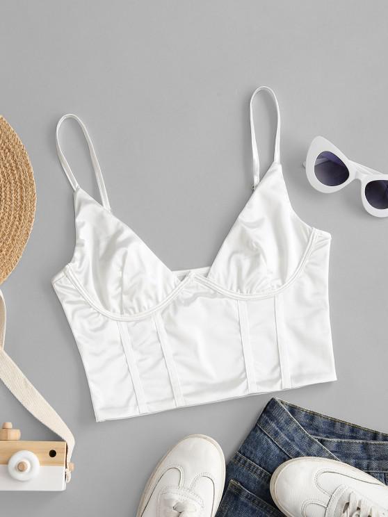 fashion Sheeny Corset Bralette Camisole - WHITE M