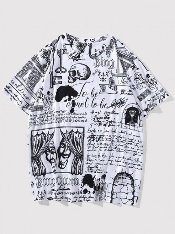 hot Vintage Allover Print Short Sleeve T-shirt - WHITE XXL