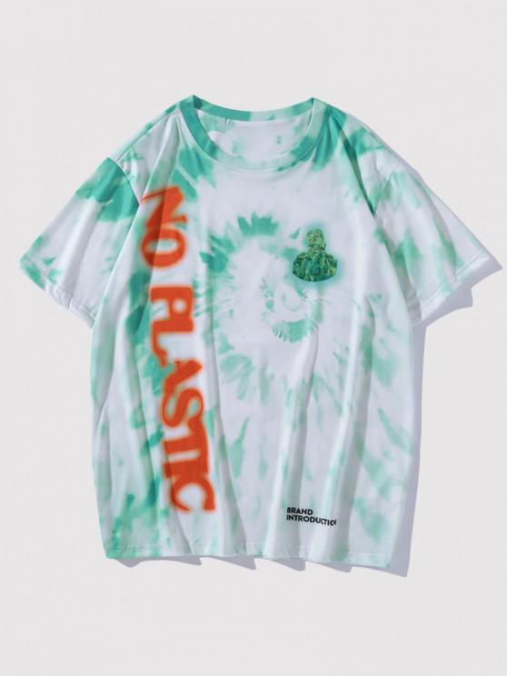 online NO PLASTIC Tie Dye T-shirt - MEDIUM TURQUOISE L