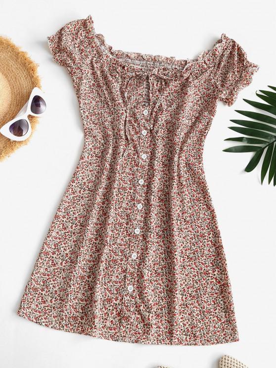 Mini Vestido de Flores Minúsculos Fuera del Hombro - Multicolor S