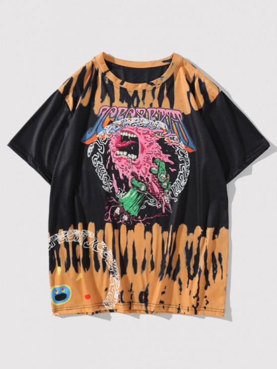 Short Sleeve Tie Dye Devil Graphic T-shirt - أسود M