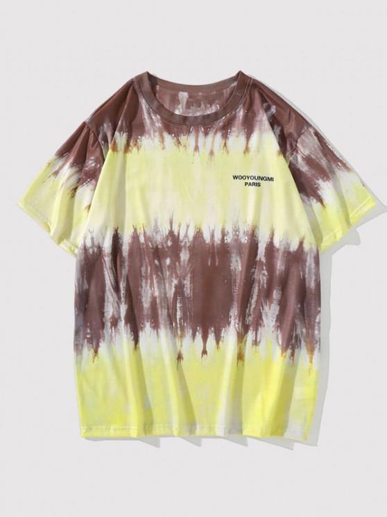 Tie Dye Letter Short Sleeve T-shirt - Dark Goldenrod M