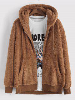 Hooded Faux Fur Fluffy Jacket - Coffee Xl