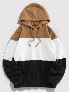 ZAFUL Drawstring Contrast Fleece Hoodie - Multi L