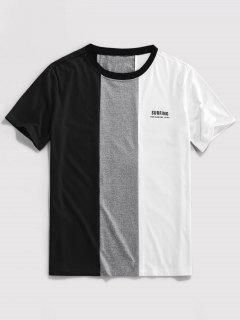 ZAFUL Buchstabedruck Kontrast Slogan T-Shirt - Schwarz M