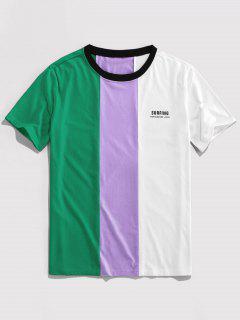 ZAFUL Letter Print Contrast Slogan T-shirt - Deep Green M