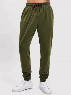 Solid Side Pockets Sports Jogger Pants - Army Green S