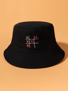 Heart Link Game Embroidered Cotton Bucket Hat - Black
