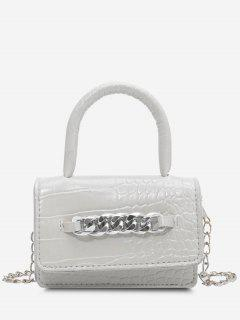 Chunky Chain Embellished Embossed Mini Crossbody Bag - White