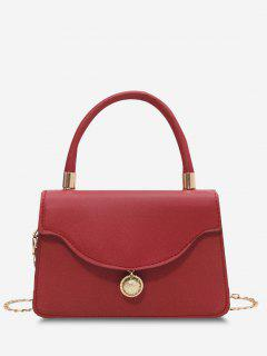 Golden Ball Embellished Flap Chain Crossbody Bag - Red Wine