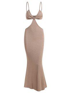 Spaghetti Strap Cutout Knit Maxi Mermaid Dress - Light Coffee S