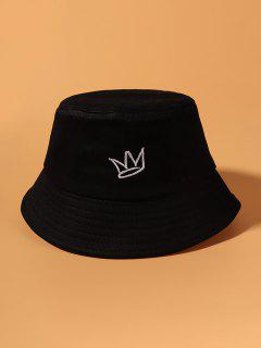 Minimalistic Crown Embroidered Causal Bucket Hat - Black