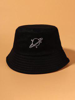 Planet Pattern Embroidery Bucket Hat - Black