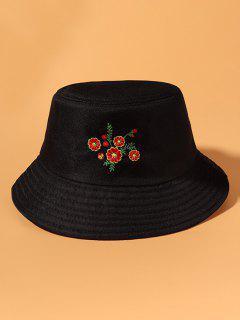 Chapéu De Balde De Proteção Casual Com Bordado Floral - Preto