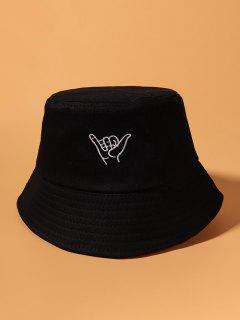 Embroidery Gesture Bucket Hat - Black