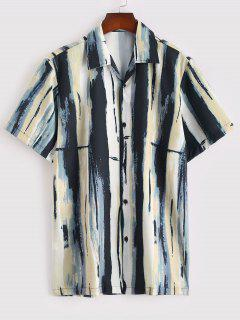 Vintage Stripe Painting Short Sleeve Shirt - Tan M