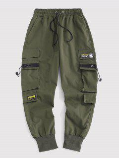 Letter Patched Cargo Pants - Deep Green L