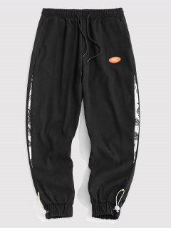 Paisley Patchwork Toggle Beam Feet Pants - Black M