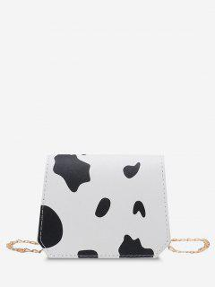 Cow Print Grainy Flap Mini Crossbody Bag - Black