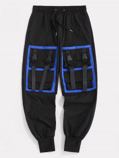 Contrasting Strap Multi-pocket Cargo Pants - Black L