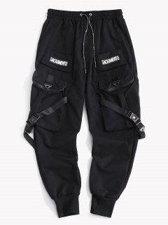Letter Patch Strap Multi-pocket Cargo Pants - Black Xl