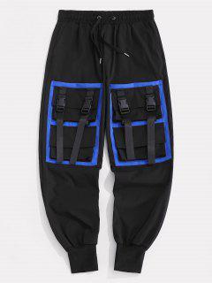 Pantalon Cargo Avec Sangle Et à Plusieurs Poches De Couleur Contrastée - Noir 3xl