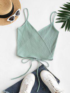 Ribbed Straps Wrap Crop Cami Top - Green S