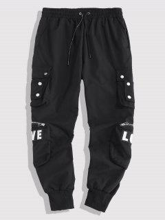 Embroidery Love Snap Button Cargo Pants - Black M