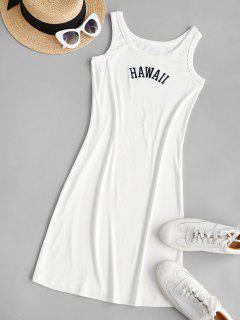 Embroidered Bodycon Tank Mini Dress - White S