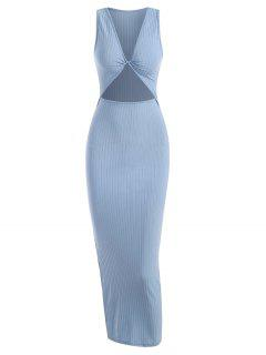 Rib-knit Twist Cutout Split Side Slinky Tank Dress - Light Blue S