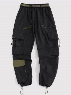 Multi-pocket Contrast Cargo Pants - Black Xs