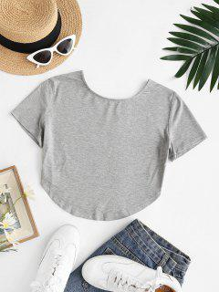 Basic Cropped Curved Hem Tee - Gray M