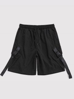 マルチポケットストラップドローストリングカーゴショーツ - 黒 3xl