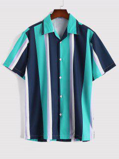 Contrasting Stripe Pattern Short Sleeve Shirt - Medium Turquoise L