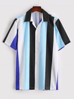 Camisa A Rayas De Contraste Con Mangas Cortas Con Estampado De Rayas - Cielo Azul Oscuro L