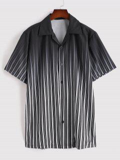 Ombre Stripe Short Sleeve Shirt - Black L