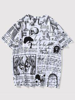 Vintage Allover Print Short Sleeve T-shirt - White L
