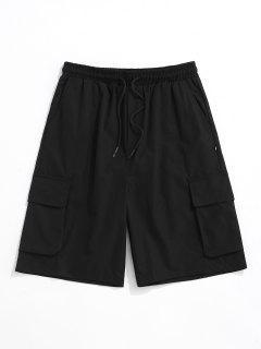 Multi-pocket Letter Patch Cargo Shorts - Black Xl