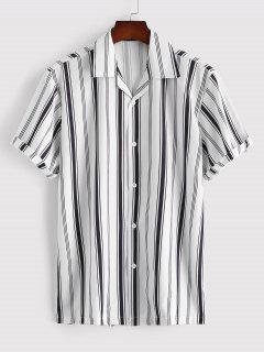 Balanced Stripe Short Sleeve Notched Collar Shirt - White Xl