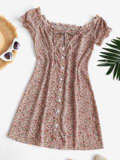 Tie Collar Tiny Floral Off Shoulder Mini Dress - Multi M