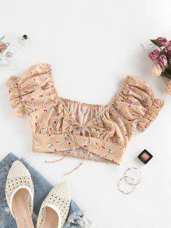 ZAFUL Ditsy Floral Puff Sleeve Tied Milkmaid Blouse - Light Coffee S