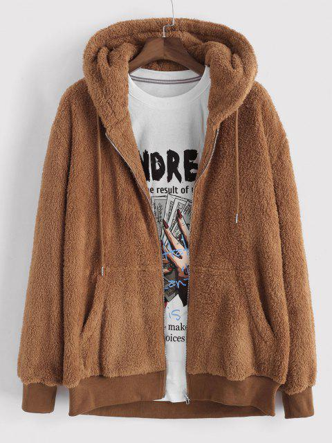 sale Hooded Faux Fur Fluffy Jacket - COFFEE L Mobile