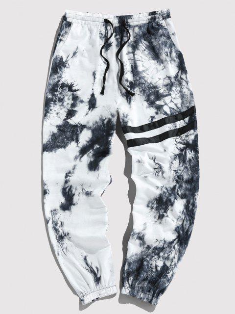 fashion ZAFUL Tie Dye Print Striped Sweatpants - BLACK XL Mobile
