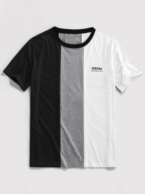 shops ZAFUL Letter Print Contrast Slogan T-shirt - BLACK XL Mobile