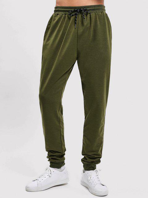 Pantalones Jogger de Color Sólido con Bolsillos Decorativos - Ejercito Verde M Mobile