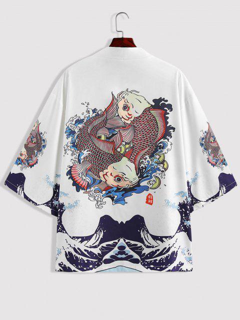 latest ZAFUL Koi Fish Ocean Waves Print Kimono Cardigan - WHITE M Mobile